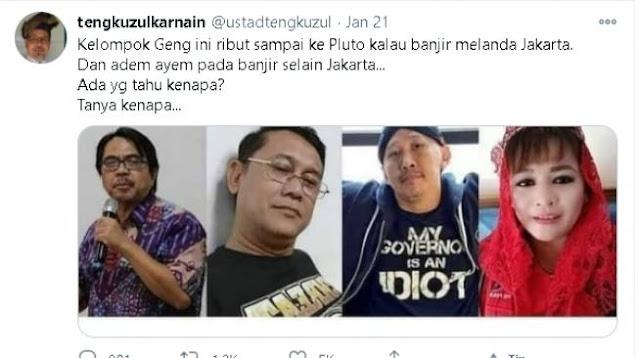 Sindir Abu Janda Cs, Tengku Zul: Ribut Sampai ke Pluto Kalau Jakarta Banjir