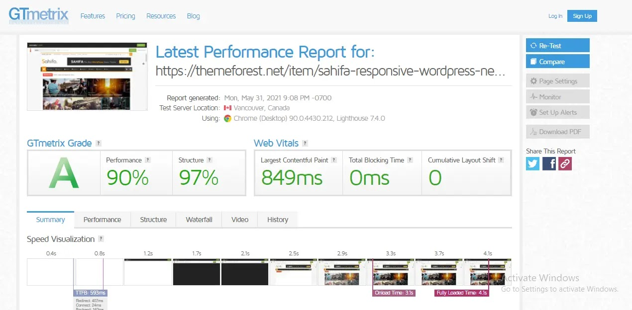 Sahifa WordPress Theme web-speed test