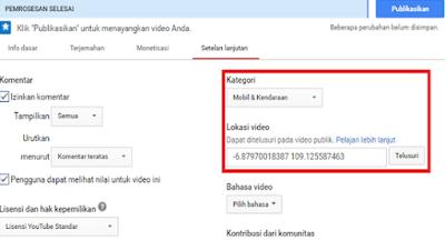 mengatur target lokasi negara video saat akan di publish (lokasi video)
