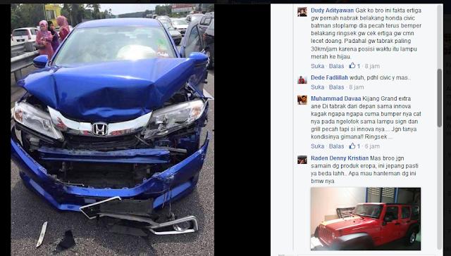 Kecelakaan Sedan BMW dan Honda, BWM hanya Penyok Honda Ringsek.