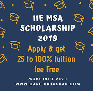 IIE MSA Scholarship, Scholarship IIS MSA, IIS MSA Scholarship details, IIS MSA Scholarship details in Hindi, IIS MSA Scholarship full details.