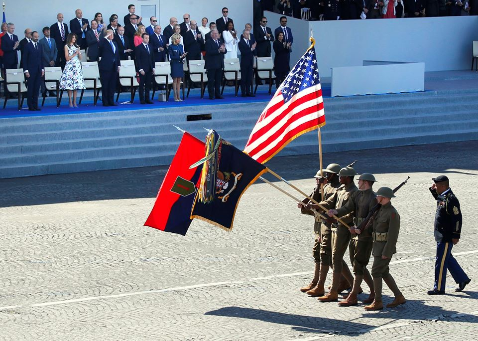 US troops took part in a military parade in Paris, France