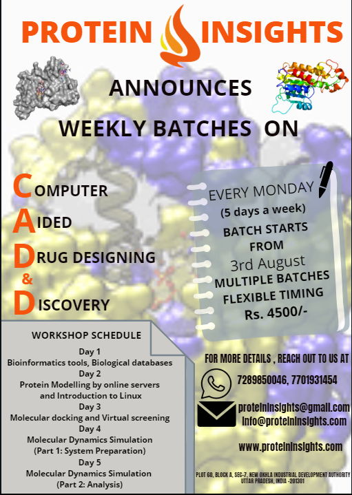 ProteinInsight's Workshop on Computer Aided Drug Designing & Discovery | from 3rd August 2020