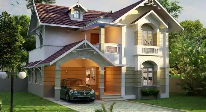 4 Bedroom Double Floor Home Design and 3D Plan