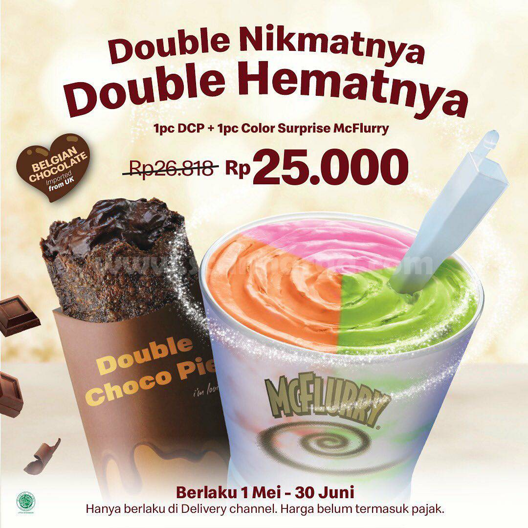 Promo McDonalds Beli 1 Double Choco Pie + 1 McFlurry hanya Rp. 25.000