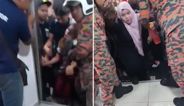 (Video) Terlebih muatan punya pasal, 25 pekerja terperangkap 50 minit dalam lif