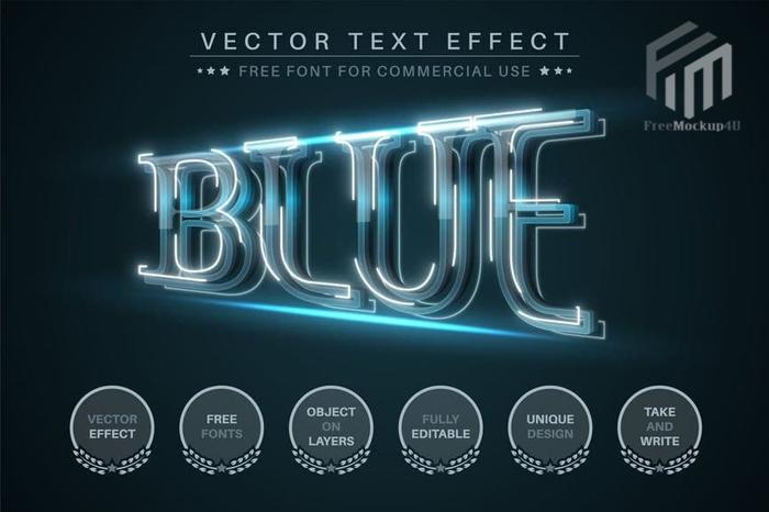 Blue Flash Editable Text Effect Font Style