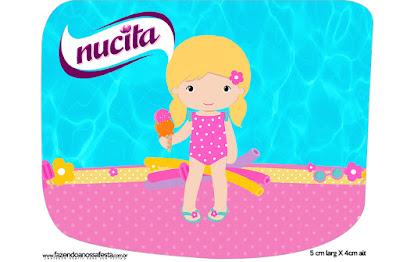 Etiqueta Nucita de Fiesta en la Piscina para Niña Rubia para imprimir gratis.