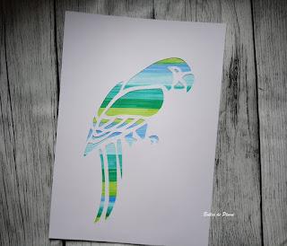 Bulles de Plume DIY Tableau Perroquet effet aquarelle