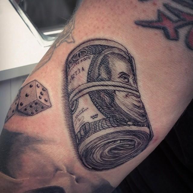 100 dollar bills tattoos for men
