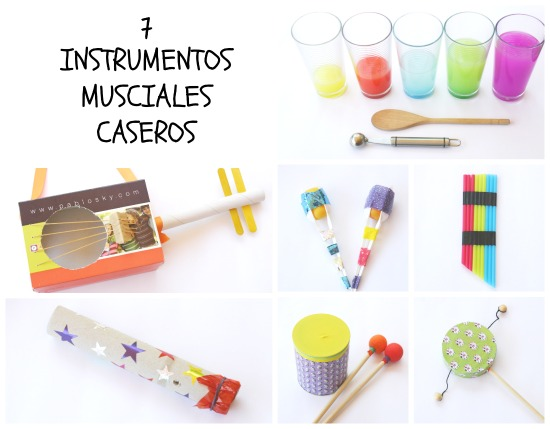 Manualidad infantil instrumentos musicales caseros