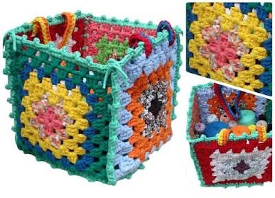 Cajas-Cestos tejidos a crochet con formas variadas