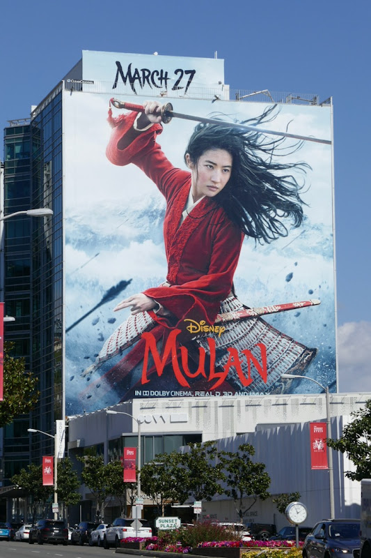 Giant Mulan 2020 movie billboard