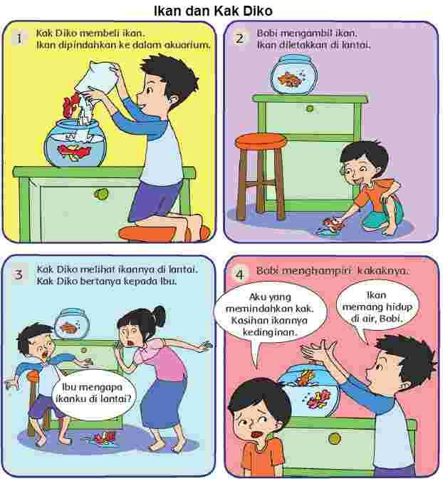 Gambar Cerita Ikan dan Kak Diko