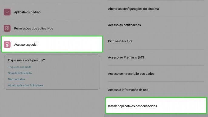 """- Depois, selecione a opção """"acesso especial"""" e em seguida clique em """"instalar aplicativos desconhecidos"""";"""