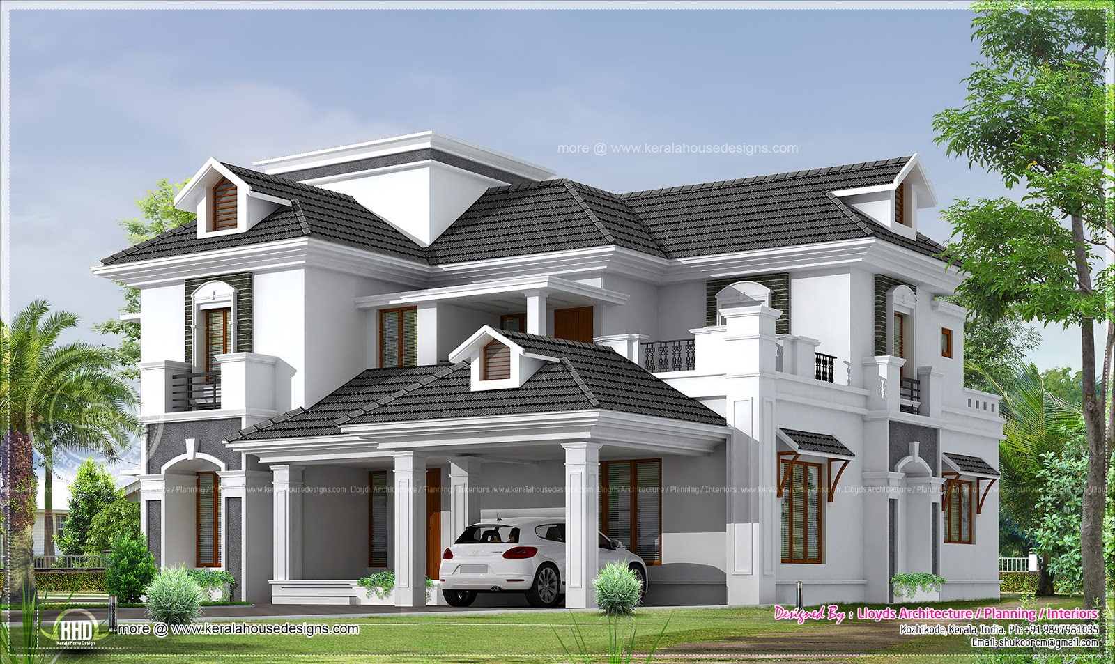2951 4 bedroom bungalow floor plan and 3d view for 4 bedroom house plans kerala style architect