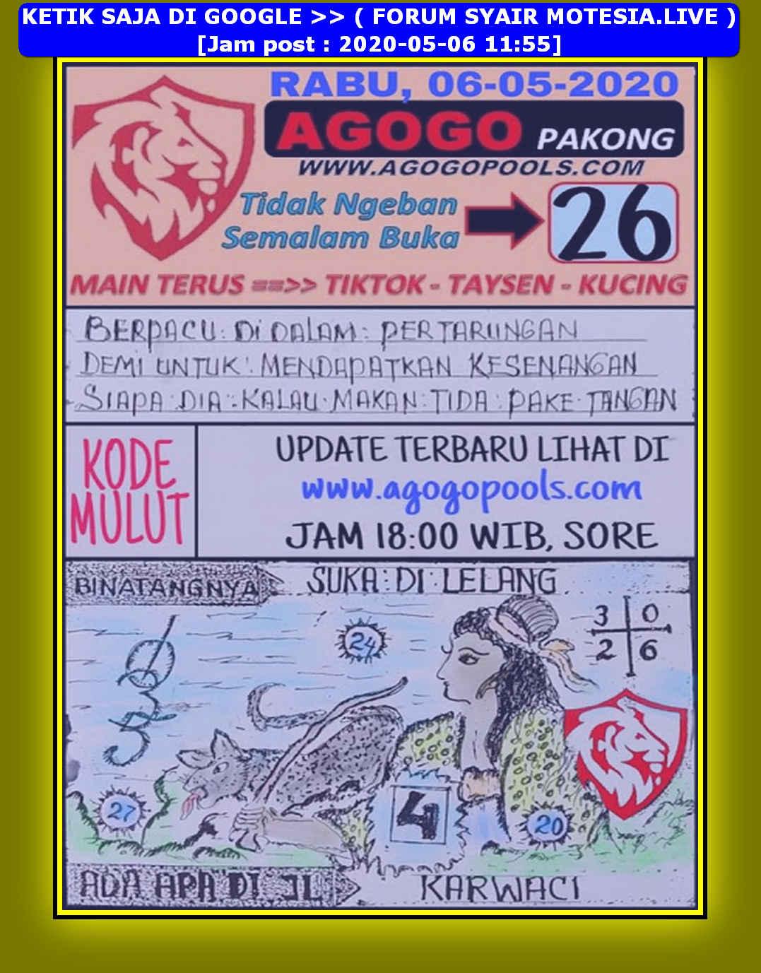 Kode syair Hongkong Rabu 6 Mei 2020 91
