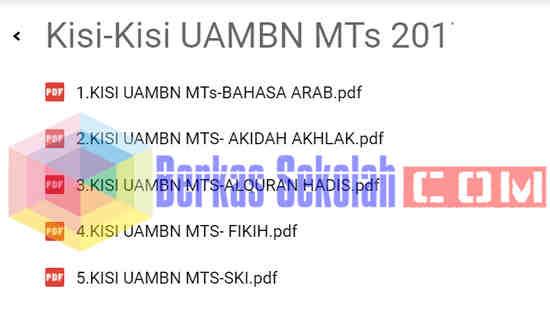 Kisi-Kisi UAMBN Tahun 2018 MTS dan MA (Tahun Pelajaran 2017/2018)