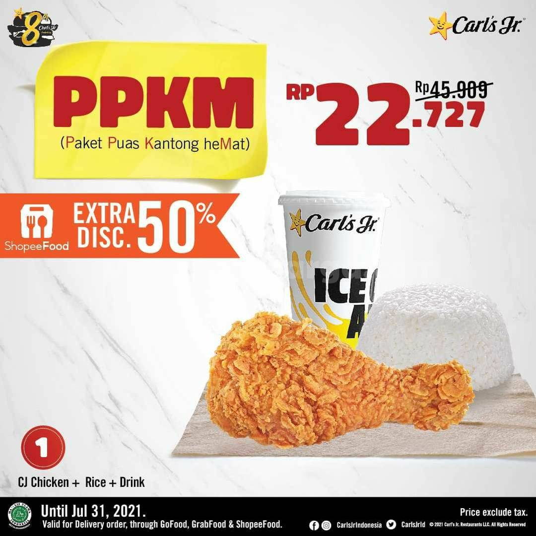 Carl's Jr Promo PPKM (Paket Puas Kantong heMat) mulai dari Rp. 22.727