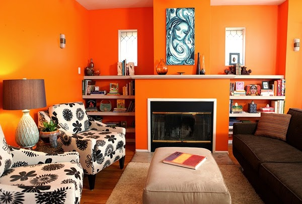 salas de color naranja colores en casa. Black Bedroom Furniture Sets. Home Design Ideas
