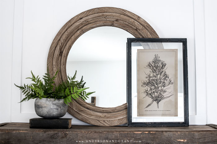 Mirror, potted fern, and botanical print on mantel