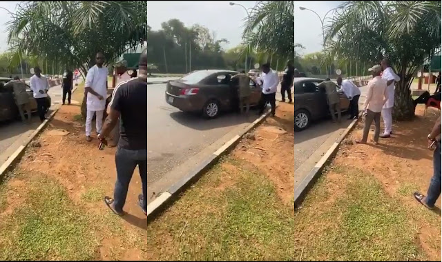 Deji Adeyanju In Front Of DSS Headquarters With Journalists To Receive Sowore