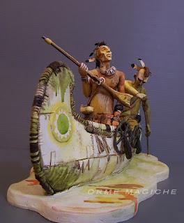modellino indiani canoa statuine nativi americani statuette da disegno schizzo orme magiche