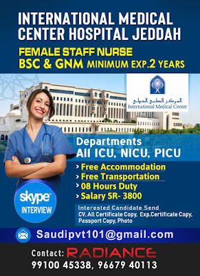 Urgently Required Staff Nurses for International Medical Center Hospital Jeddah