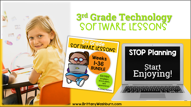 These Spiral Review technology lessons for 3rd grade teach presentation, word processing, and spreadsheet software over 12 sessions. These will make a great addition to your technology curriculum for the computer lab. The skills build on each other throughout this unit so it is important to do the lessons in order. Each set of 12 weeks are all on the same topic, so students can take a deep dive into the content and the tech skills.