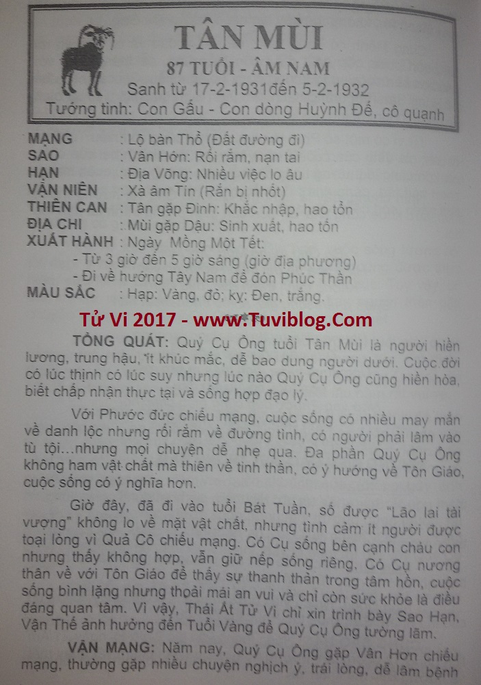 Tu vi 2017 Tan Mui