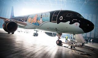 A foto no interior de um hangar mostra um avião da companhia aérea Brussels Airlines, modelo Airbus A320 de 37 metros de comprimento. O A320 está com o nariz voltado à direita, e a lateral está em foco, corpo, parte da asa e a enorme turbina. A pintura da parte superior é preta e possui sinuosidades na parte superior do nariz misturando-se com o branco da parte inferior. Na parte anterior a asa e superior do corpo, há um grafite em fundo azul claro do herói dos quadrinhos criado pelo belga Hergé: Tintin à esquerda e à direita, a carinha retangular do Milu, um Fox Terrier branco, eles olham para fora, como se estivessem dentro do avião, em um janelão envidraçado. Por baixo da barriga do Airbus, nota-se: parte inferior da outra turbina, o trem de pouso dianteiro e traseiro, uma escada branca posicionada na porta principal e algumas pessoas ao longe. Ao fundo, uma forte luminosidade invade a porta do hangar e causa um efeito brilhante ao redor da aeronave.