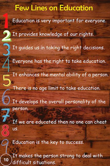 Short 10 lines essay on education