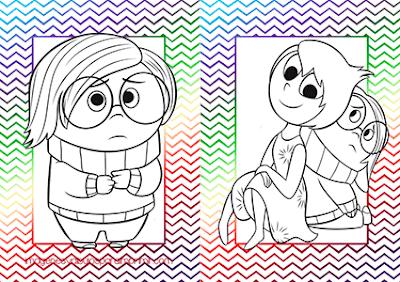 Imprimir y colorear alegria y tristeza