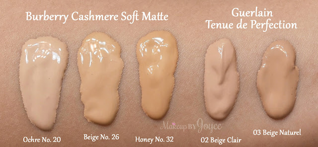 Guerlain Tenue de Perfection Long Lasting Timeproof Foundation Swatches 02 Beige Clair 03 Naturel