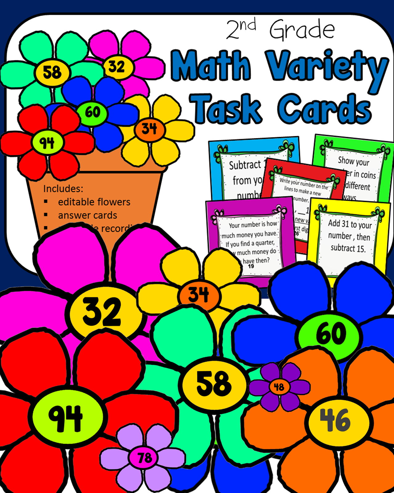 Math Task Cards-flowers