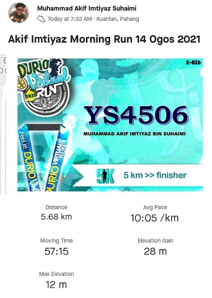 Settle Untuk Durio Virtual Run 2021