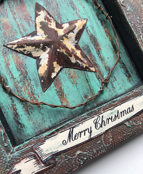 Rusty Star Canvas with PaperArtsy ESC08 stamps and Seth Apter PaperArtsy Fresco chalk paints - by Nikki Acton