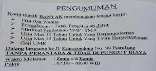Lowongan Kerja PT Daese Garmin 2019 Operator Jahit SMP SMA SMK MA
