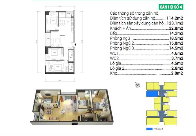 Thiết kế căn hộ số 04 Housinco Grand Tower