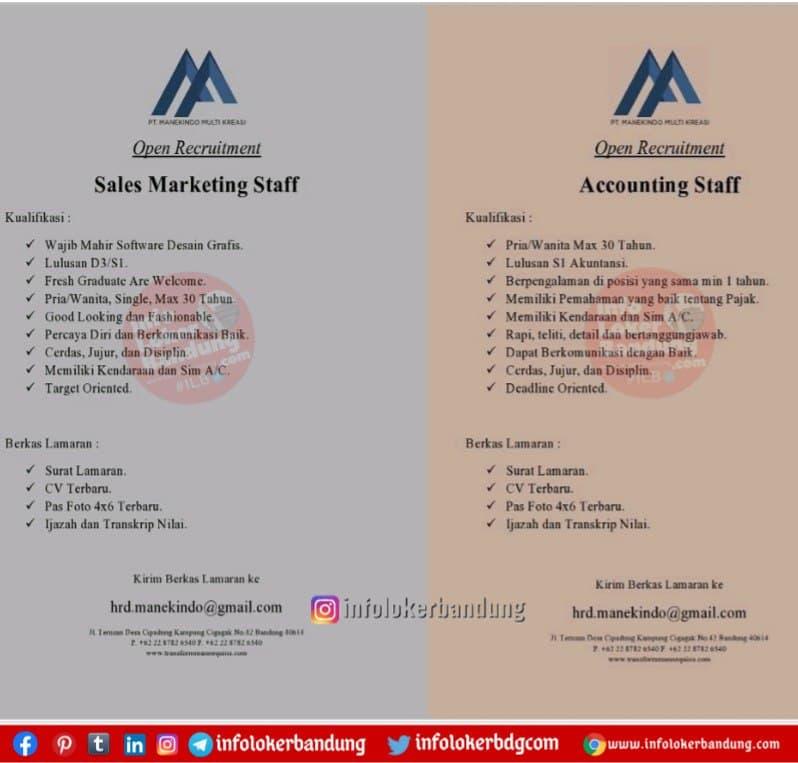 Lowongan Kerja PT. Manekindo Multi Kreasi Bandung Januari 2021