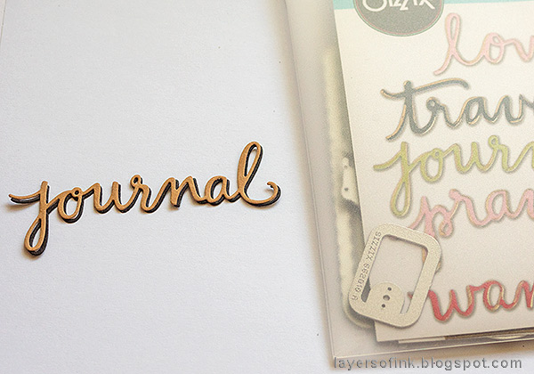 Layers of ink - Heat Embossed Notebook Journal by Anna-Karin. Die cut the sentiment.