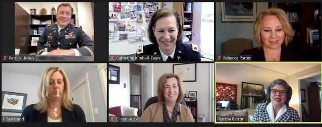 A screenshot of 6 people talking in a video chat.