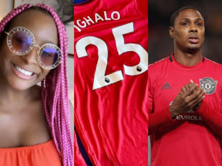 DJ Cuppy Receives Signed Manchester United Jersey From Jude Ighalo