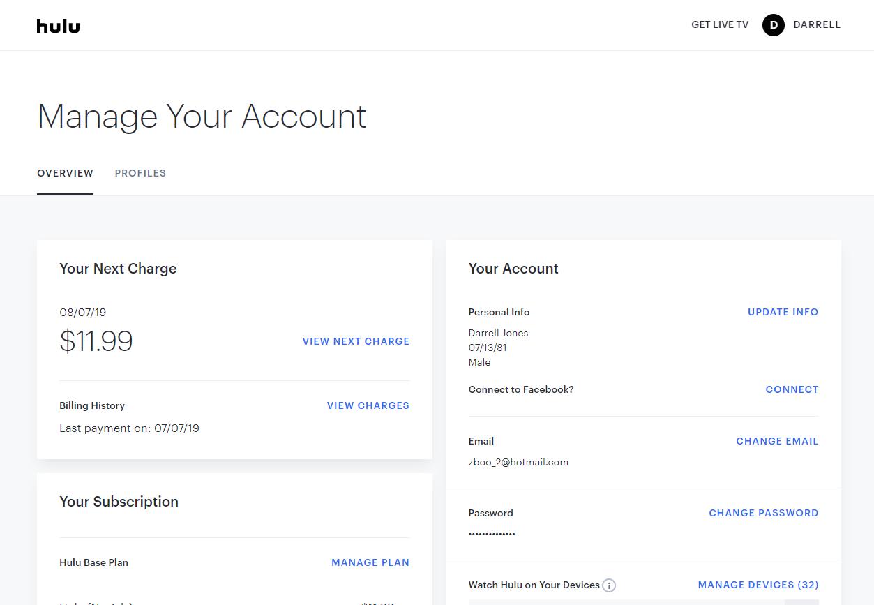 x8 Free Hulu.com Premium Accounts July 7, 2019