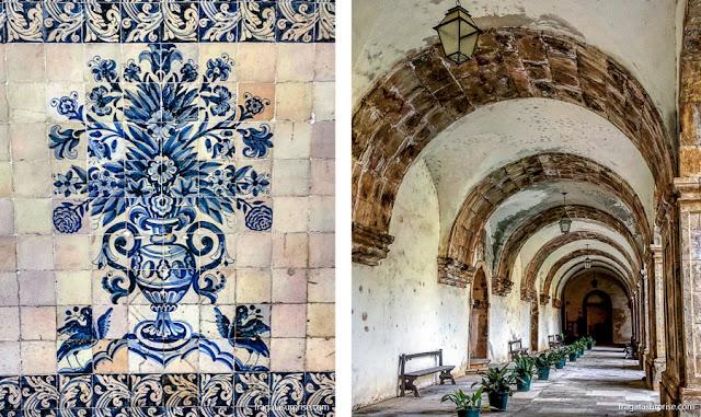 Coimbra: Claustro do Convento de Santa Clara-A-Nova painel de azulejos da Faculdade de Direito da Universidade de Coimbra