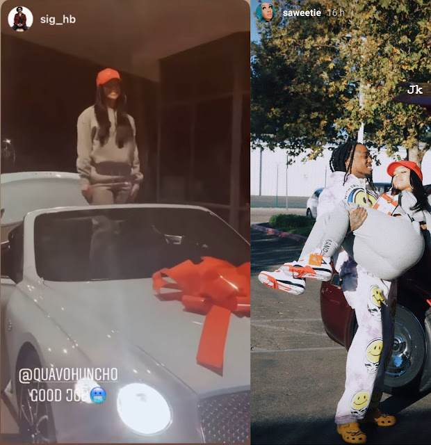 Quavo takes back the 2021 Bentley convertible he gifted his Girlfriend Saweetie for Christmas after she broke up with him