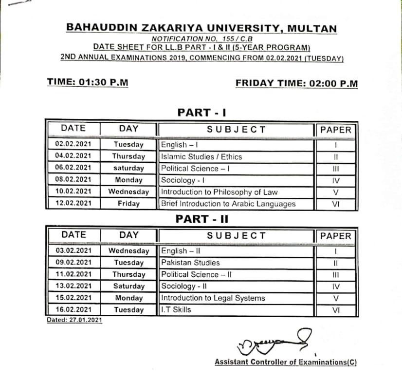 Date Sheet LLB Part 1 Part 2 BZU Multan