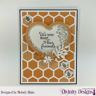 Stamp/Die Duos: Bee-lieve Custom Dies: Quilted Honeycomb Background, Shaker Heart Frame (Blessings Box), Matting Rectangle, A2 Portrait Card Base with Layer, Bitty Blossoms Paper Collection: Fall Favorites