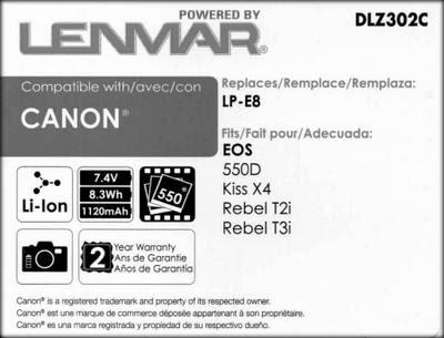 Packaging for the Lenmar LP-E8
