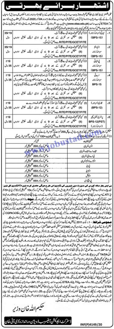 Teaching Jobs in DI Khan Education Department Nov 2020
